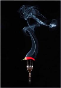 Red hot smoking chilli by Audrey Peddie
